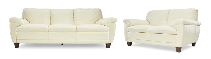 Leonardo Sofa and Loveseat Set - Cream