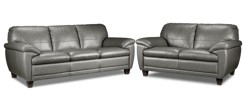 Leonardo Sofa and Loveseat Set - Putty