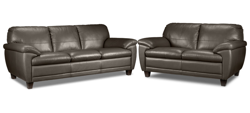 Leonardo Sofa and Loveseat Set - Taupe