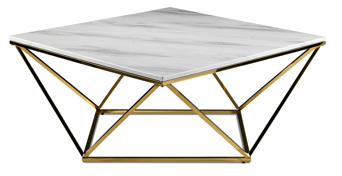 Picture of: Lynn Coffee Table Marble And Gold Leon S