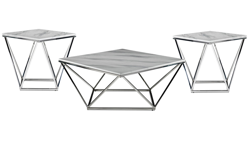 Lynn Coffee Table and Two End Tables - Marble and Stainless Steel