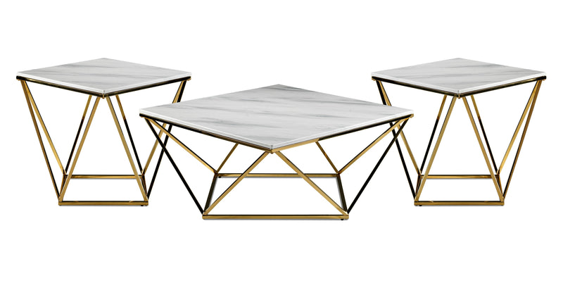 Lynn Coffee Table and Two End Tables - Marble and Gold