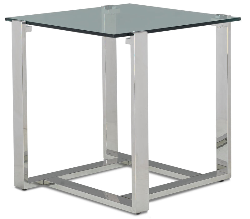 Sidney End Table - Stainless Steel and Glass