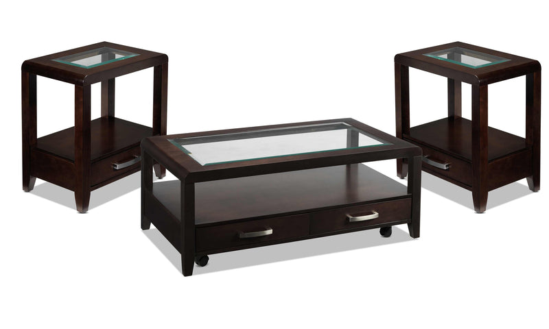 Felicia Coffee Table and Two End Tables - Espresso
