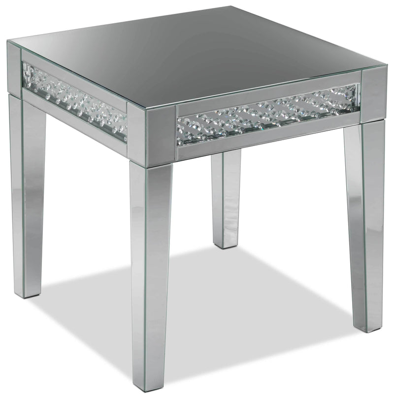 Aria End Table - Mirrored Glass
