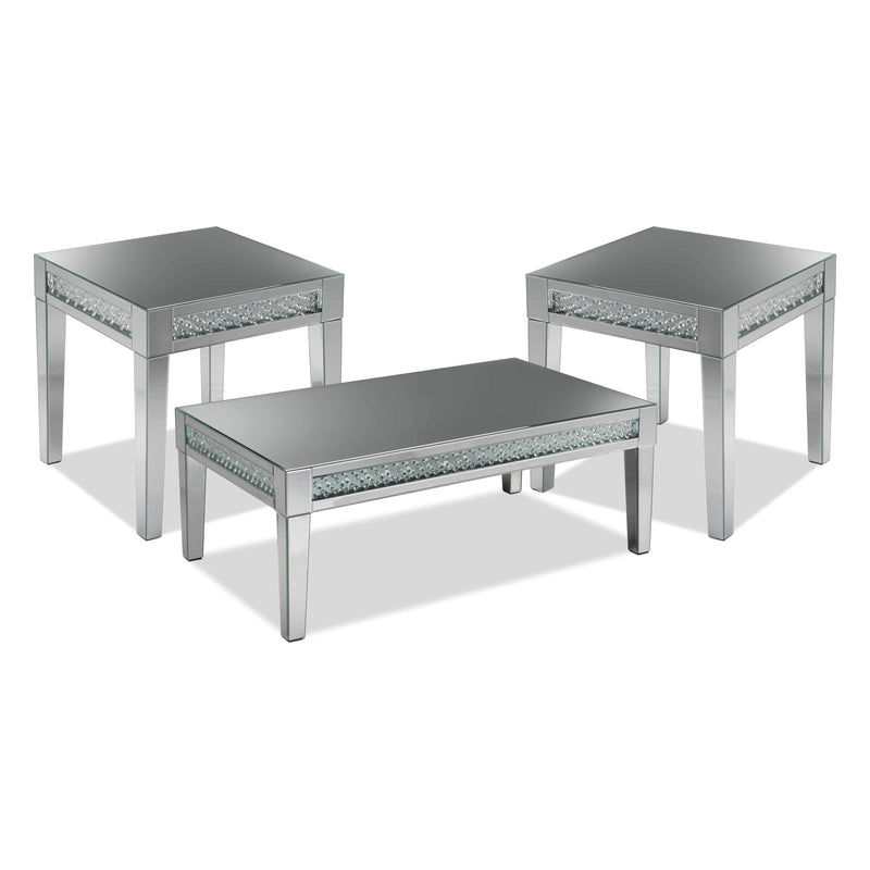 Aria Coffee Table and Two End Tables - Mirrored Glass