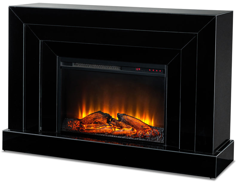 Mia Mirrored Fireplace - Black