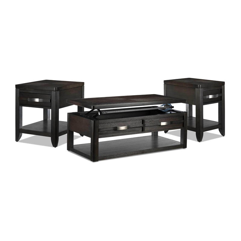 Manila Lift-Top Coffee Table, End Table and Chairside Table Set - Grey