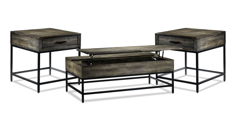 Asher Lift-Top Coffee Table and Two End Table Set - Grey