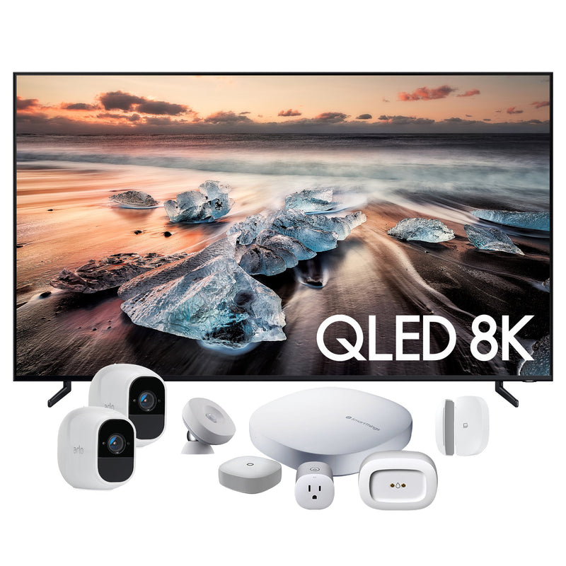 "Samsung 75"" Q900 QLED Television, SmartThings Starter Kit and Two Arlo 2 Camera Package - QN75Q900RBFXZC/3863ZY"
