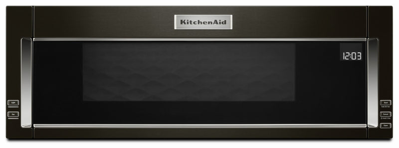 KitchenAid Black Stainless Steel Low Profile Over-the-Range Microwave and Hood Combination (1.1 Cu.Ft.) - YKMLS311HBS