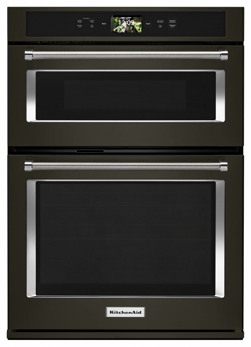 KitchenAid Black Stainless Smart Combination Wall Oven (6.4 Cu.Ft.) - KOCE900HBS