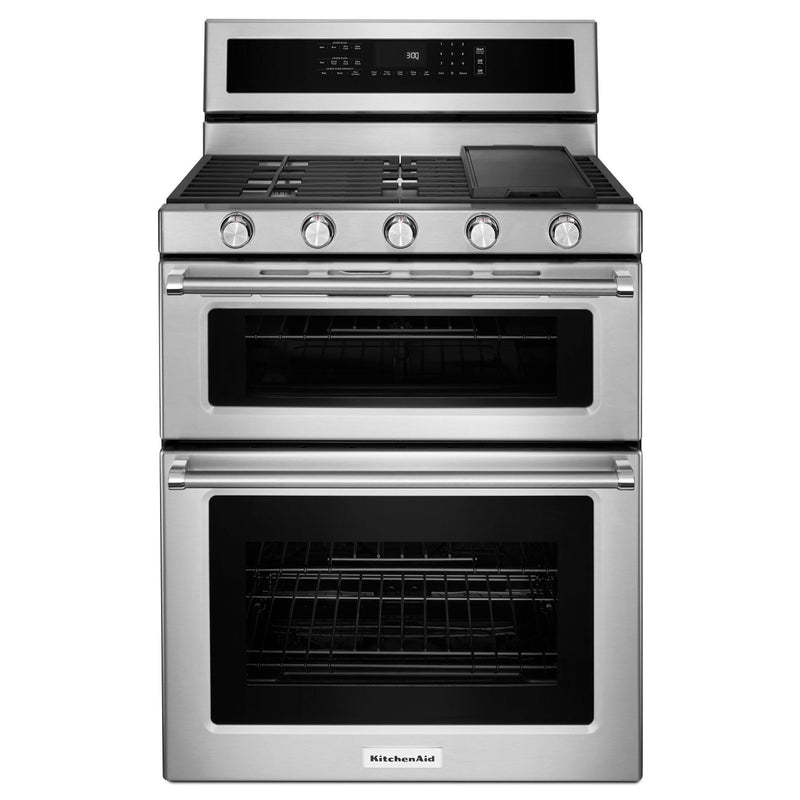 KitchenAid Stainless Steel Freestanding Double Oven Convection Gas Range (6.0 Cu. Ft.) - KFGD500ESS