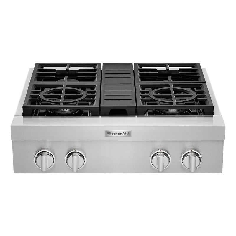 "KitchenAid Stainless Steel 30"" Commercial Gas Cooktop - KCGC500JSS"