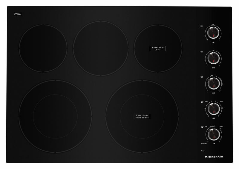 "KitchenAid Black 30"" Electric Cooktop - KCES550HBL"