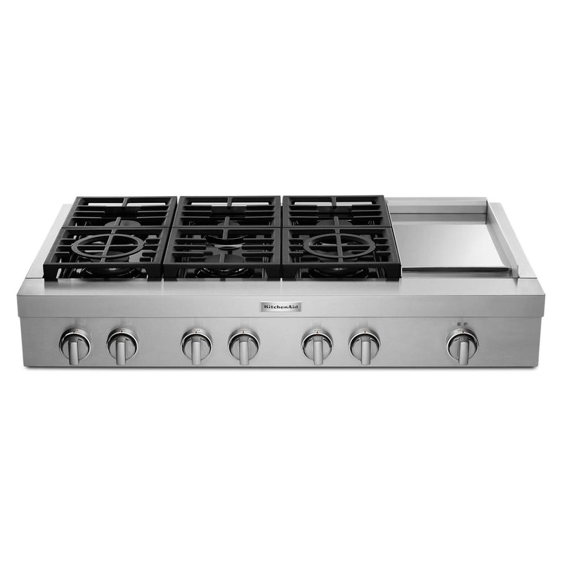 "KitchenAid Stainless Steel 48"" Commercial Gas Cooktop - KCGC558JSS"