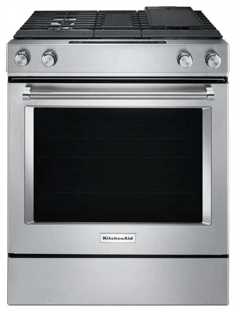 KitchenAid Stainless Steel Downdraft Dual Fuel Range (6.4 Cu.Ft.) - KSDG950ESS