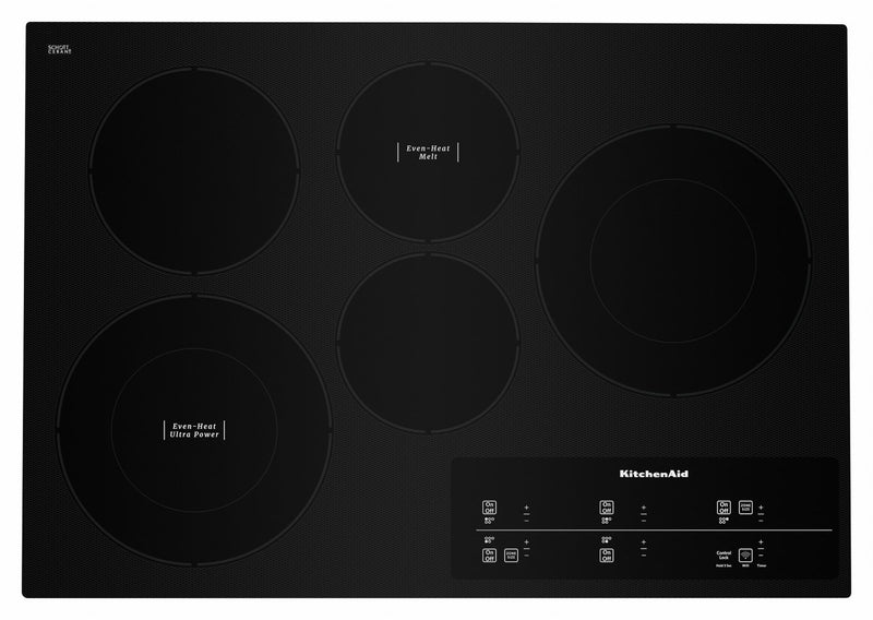 "KitchenAid Black Smart 30"" Electric Cooktop - KCES950HBL"