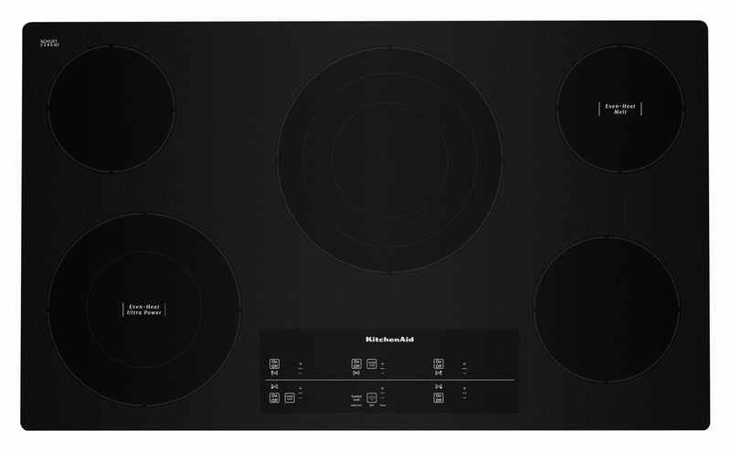 "KitchenAid Black Smart 36"" Electric Cooktop - KCES956HBL"