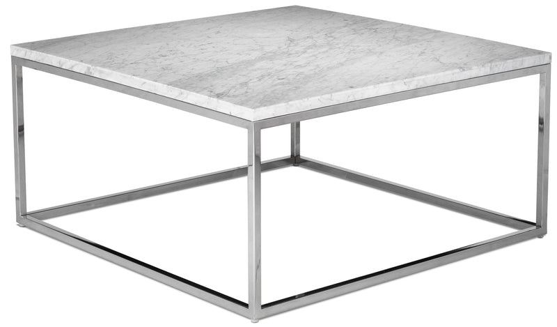 Julien Coffee Table - White and Stainless Steel