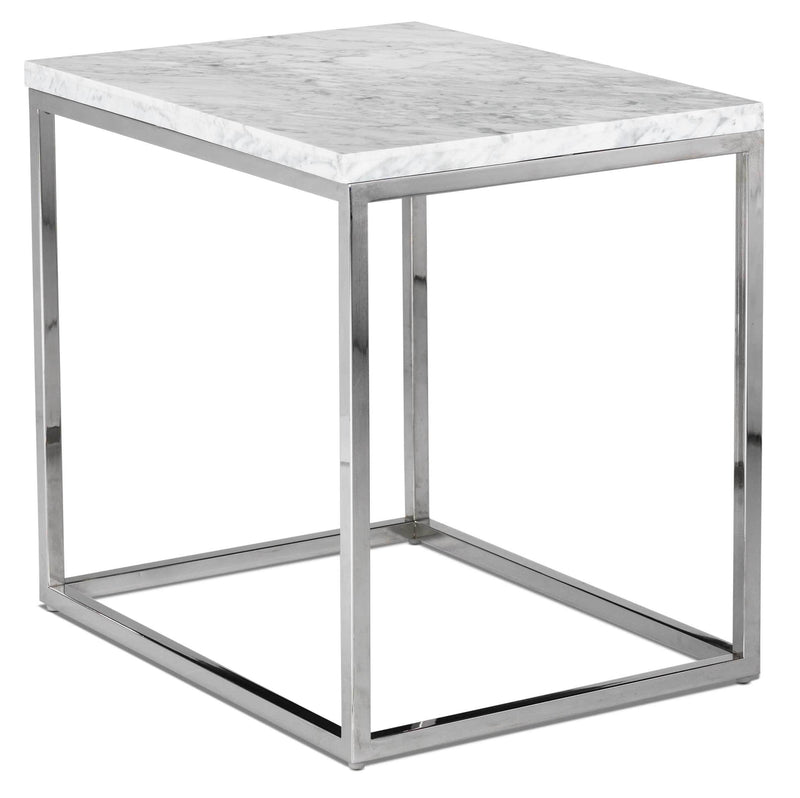 Julien End Table - White and Stainless Steel