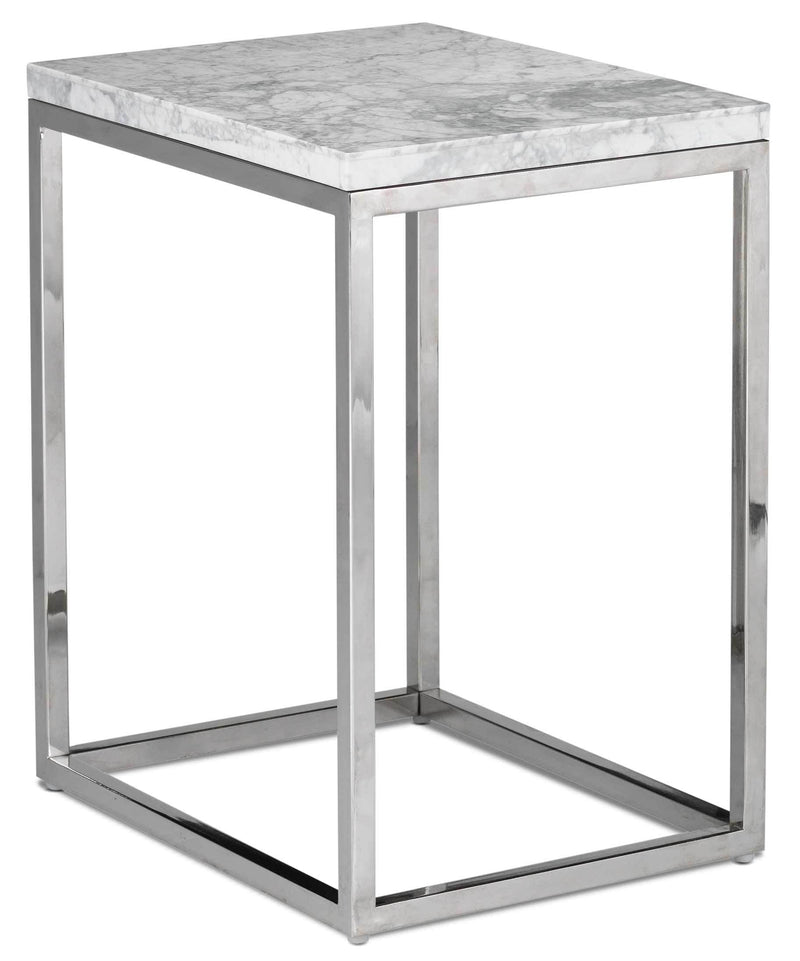 Julien Chairside End Table - White and Stainless Steel