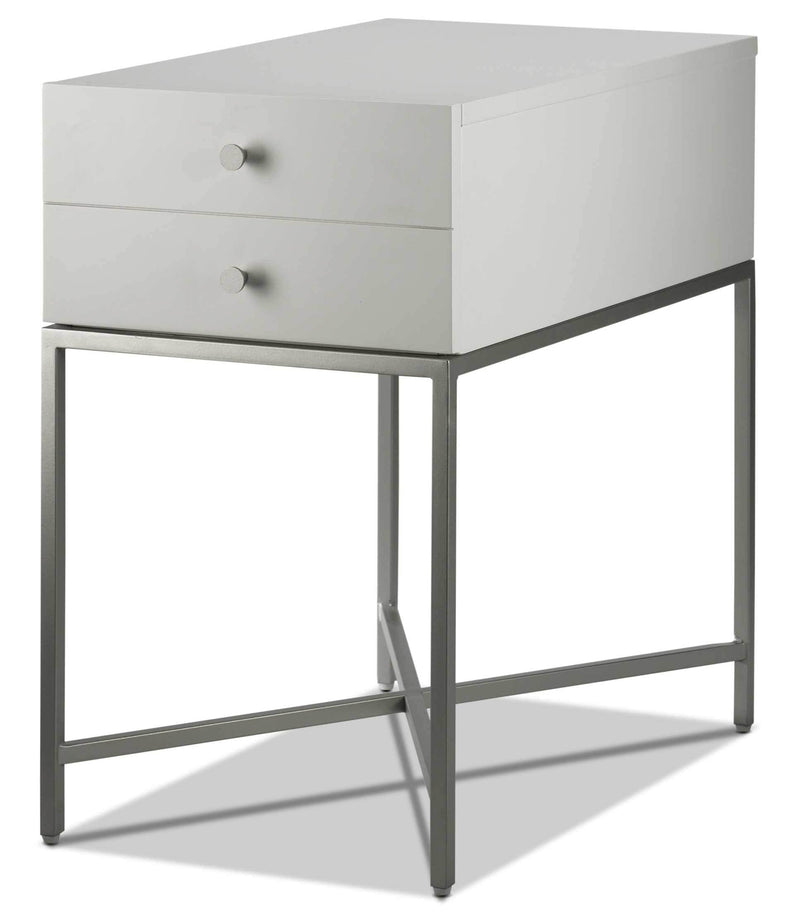 Delaney Chairside Table - White