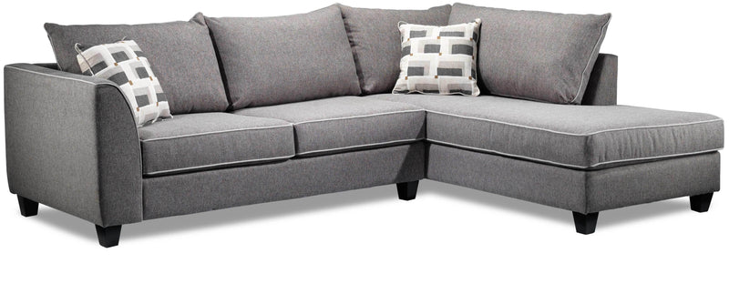 Finnerty 2-Piece Sectional with Right-Facing Chaise - Silver