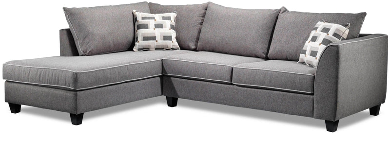 Finnerty 2-Piece Sectional with Left-Facing Chaise - Silver