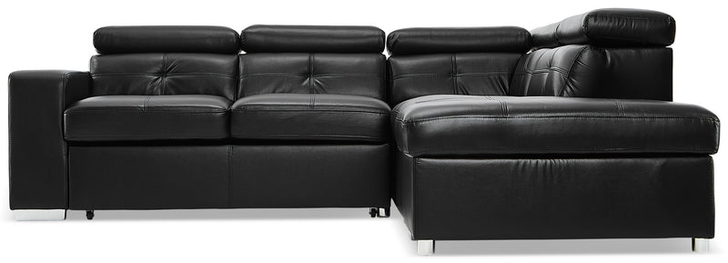 Dalary 3-Piece Sectional with Left-Facing Pop-Up Bed - Black