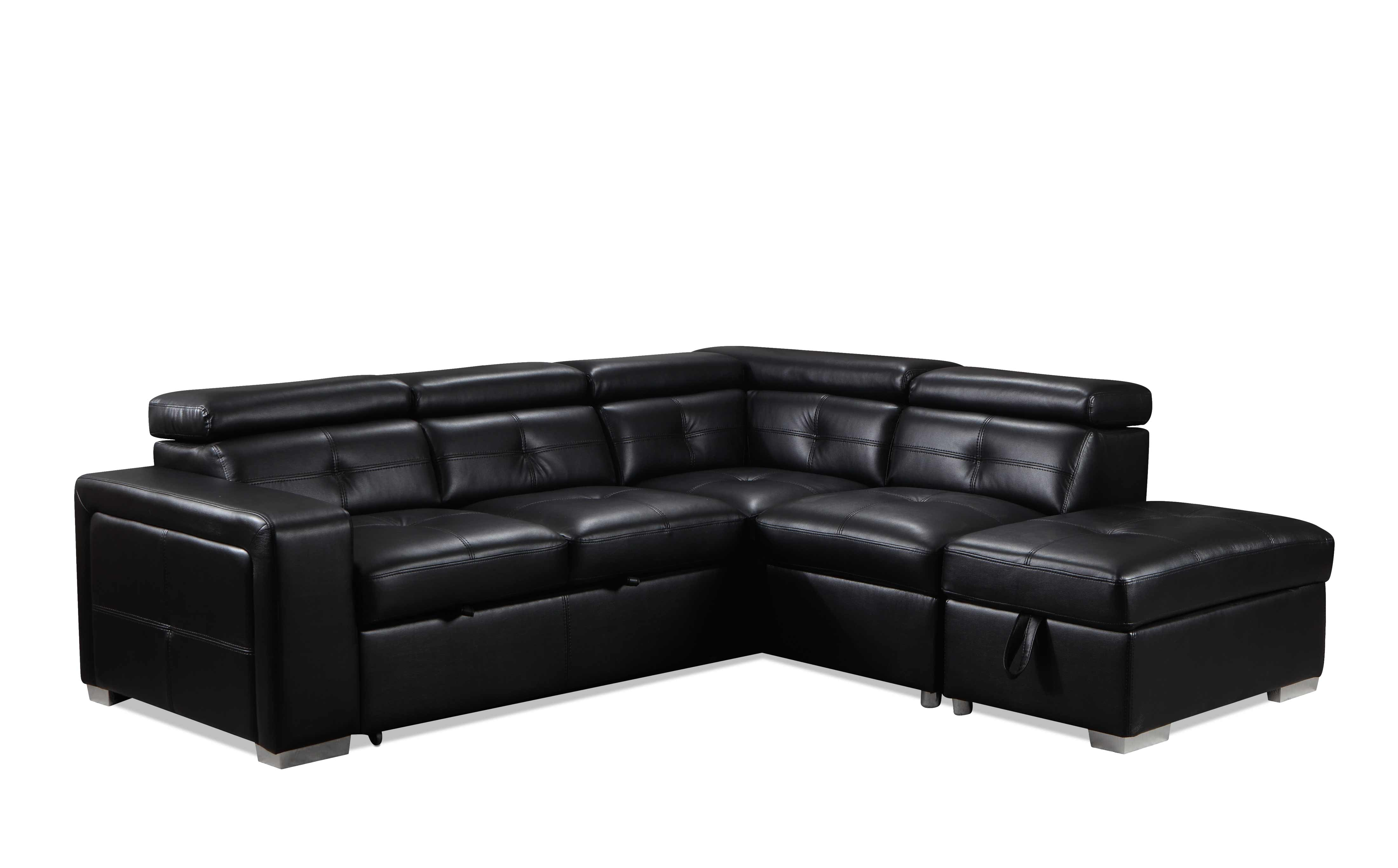 Picture of: Dalary 3 Piece Sectional With Left Facing Pop Up Bed Black Leon S
