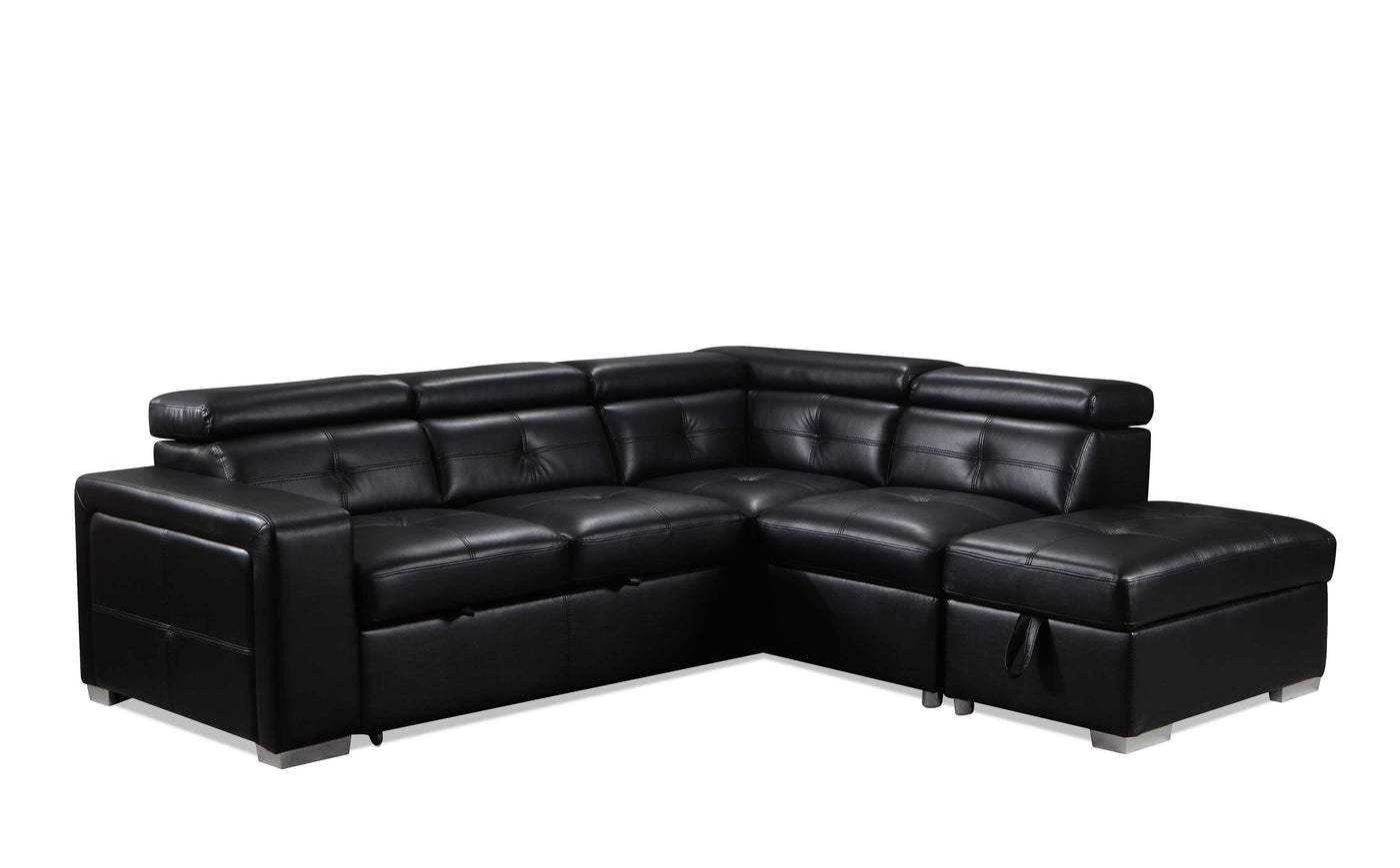 Dalary 3 Piece Sectional With Left Facing Pop Up Bed Black Leon S
