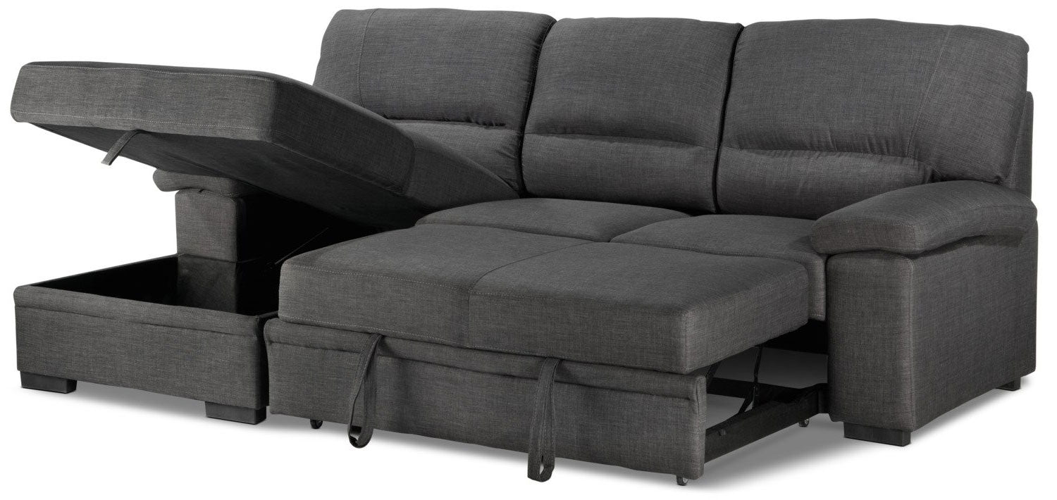 Picture of: Tessaro Pop Up Sofa Bed With Left Facing Chaise Charcoal Leon S