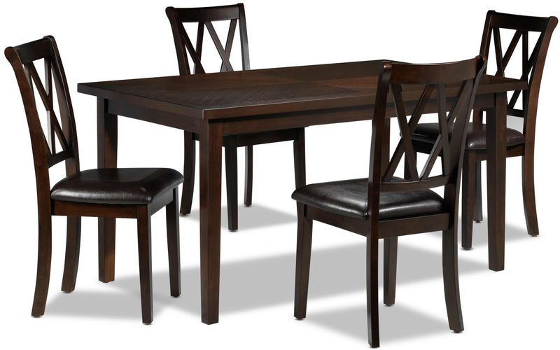 Lauren 5 Piece Dinette Set   Dark Brown