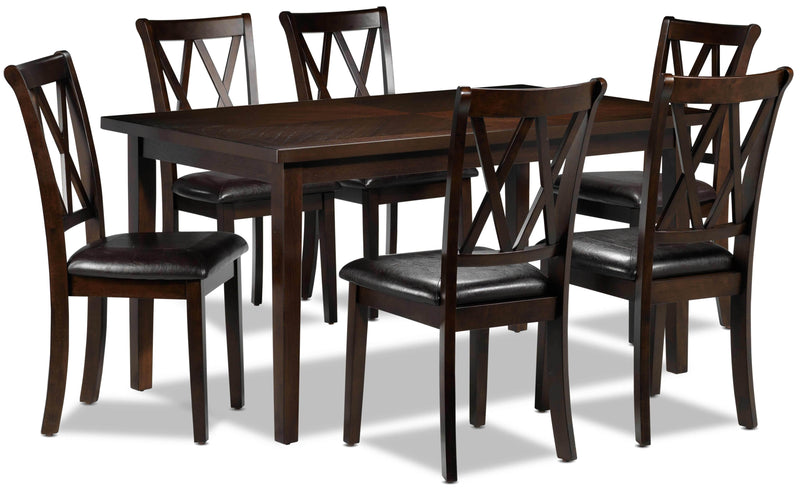 Lauren 7-Piece Dinette Set - Dark Brown