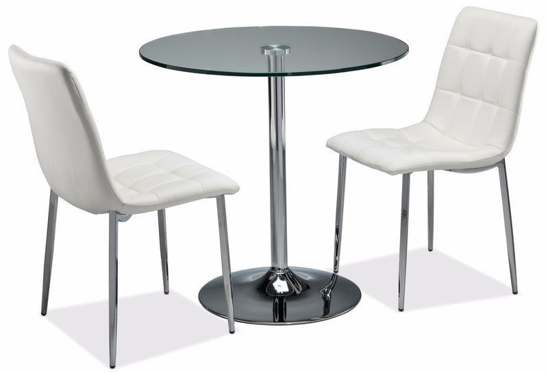 Fifi II 3-Piece Dinette Set - White and Stainless Steel