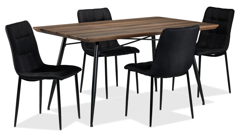 Jaffe 5-Piece Dinette Set - Walnut and Black