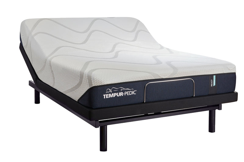 Tempur-Pedic React Medium Firm Queen Mattress and Lift Head-Up Adjustable Base Set