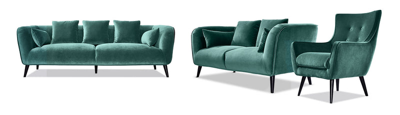 Maja Sofa Loveseat And Accent Chair Set Teal Leon S