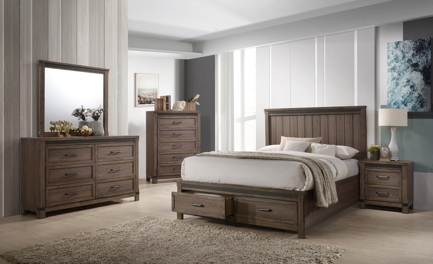 Rossco 8-Piece Queen Bedroom Set - Rustic Oak