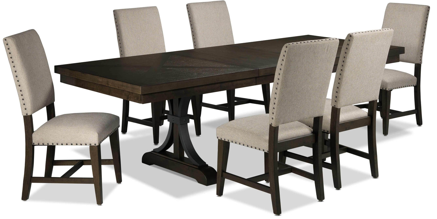 Flanigan 12-Piece Dining Set - Distressed Espresso