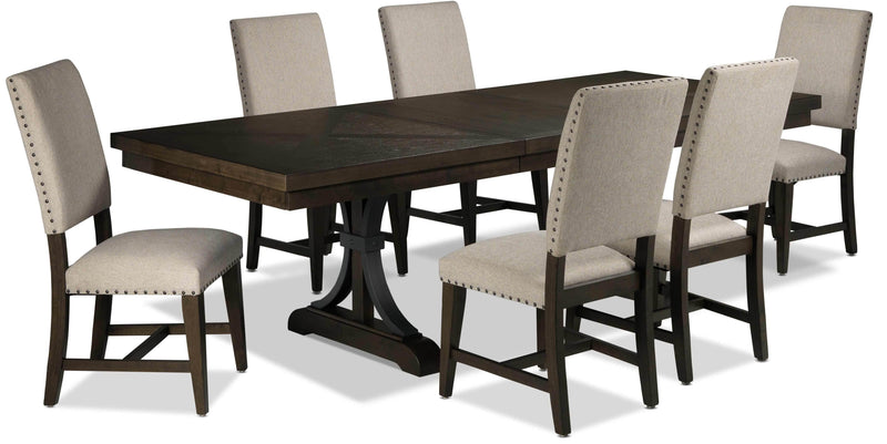 Flanigan 7-Piece Dining Set - Distressed Espresso
