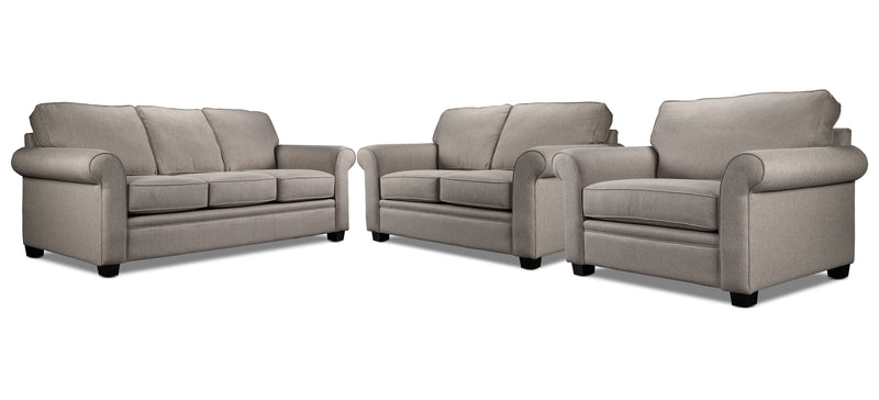 Genevieve Sofa, Loveseat and Chair and a Half Set - Taupe