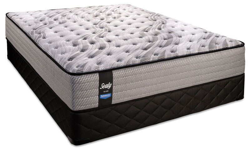 Sealy Twinkling Extra Firm Queen Mattress and Low-Profile Boxspring Set