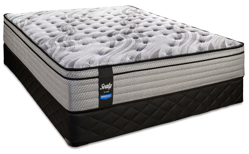 Sealy Dazzling Firm Queen Mattress and Low-Profile Boxspring Set