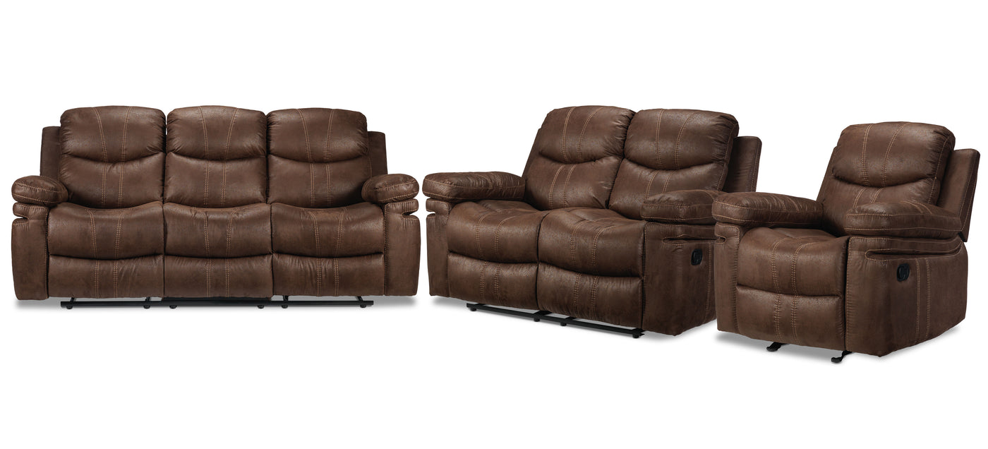 Picture of: Marbella Sofa Loveseat And Chair Set Brown Leon S