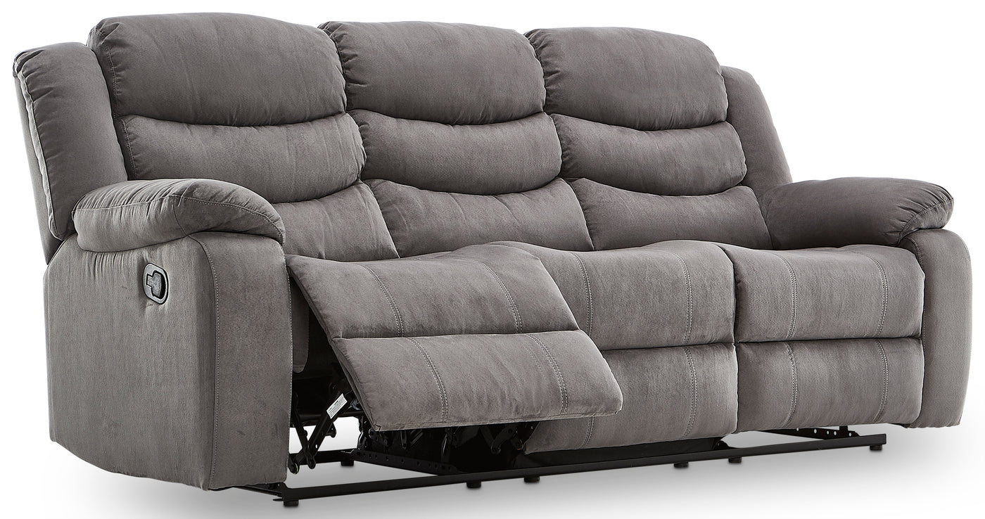 Picture of: Earl Reclining Sofa And Loveseat Set Grey Leon S