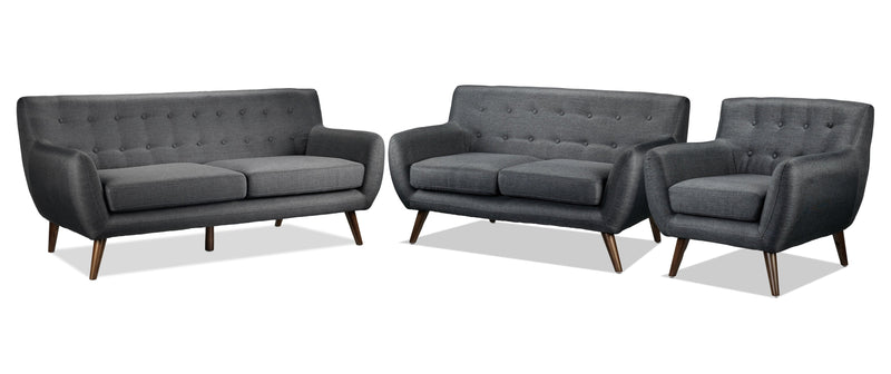 Heather Sofa, Loveseat and Chair - Dark Grey