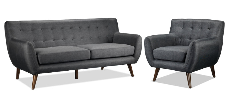 Heather Sofa and Chair Set - Dark Grey