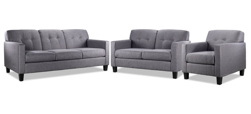 Merlin Sofa, Loveseat and Chair Set - Grey
